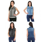 Womens Denim Jeans Jacket Sleeveless Vest Washed Flap Pockets