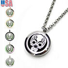 Jewelry Skull Aromatherapy Perfume Essential Oil Diffuser Necklace Locket