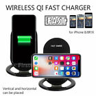 For iPhone 8P/8/X SAMSUNG S8 S7 Qi Wireless Fast Charger Charging Stand Dock