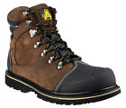 Mens Waterproof Safety Boots / Brown Steel Toe Cap Work Boots Laced Amblers