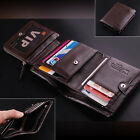 US Stock Men's Leather Trifold Wallet Money Credit Card Holder Zip Coin Purse U