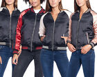 Women's Stain Bomber Stylish Biker Puffer Jacket Casual Classic Zip Up Vintage
