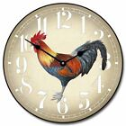"Fancy Rooster LARGE WALL CLOCK 10""- 48"" Whisper Quiet Non-Ticking WOOD HANDMADE"