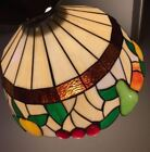 Tiffany Style Puffy Fruit Antique Slag Glass Chandelier Hanging Light Lamp Great