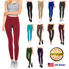Womens Fleece Lined Leggings Warm Winter Thick Solid Colors Regular  Plus Size