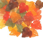 Frosted Lucite Acrylic Maple Leaf Beads Pendants Autumn Fall Mix