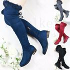 Women Ladies Studded Fur Over Knee Boots Low Block Heel Thigh Stretch Shoes Size