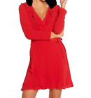 JOHN ZACK  RED  WRAP FRILL DRESS