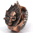 Women Men Pocket Finger Ring Watch Skull Head Case Elastic Chain Strap Quartz