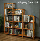 100% Natural Bamboo Furniture Shelves Bookcase Rack Storage Organizer Display