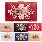 HARD COMPACTS FLOWER PARTY FAUX WEDDING BRIDAL PROM EVENING CLUTCH HANDBAG