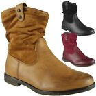 Womens Pixie Rouched Flat Low Heel Casual Plain Ladies Slouch Ankle Boots Size