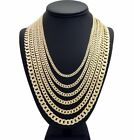 "Mens Diamond Cuban link Chain 14k Gold Plated 20"" 24"" 30"" Concave Necklace"
