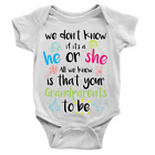 Grandparents To Be Babygrow New Baby Announcement Boy Or Girl Body Suit