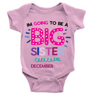 Personalised Going To Be A Big Sister Babygrow Custom Date New Baby Gift Present