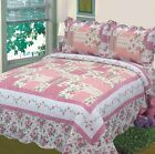 Fancy Linen 3pc Queen, King Bedspread Bed Cover Floral Off White Pink New image