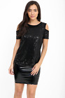 QED LONDON Black Sequin Bling Shiny Tank Top Cut Out Cold Shoulder Blouse 10-16