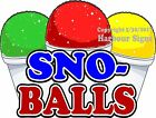 Sno-Balls DECAL (Choose Your Size) Snow Cones Concession Food Truck Sticker