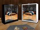 Double Mirror Sliding Door Wardrobe Queen with LED and Inside Draws 150cm/200cm