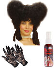 Mrs Lovett Fancy Dress Wig and Gloves Spray Blood Sweeny Todd Halloween Costume