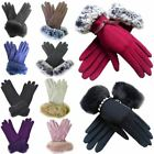 New Ladies Real Fur Trim Studded Strap Beads Embellished Wool Gloves