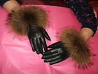 Tan Brown Leather Gloves with Gorgeous Real Raccoon Fur Trim