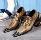 Mens Leather Dress Formal metal Pointed Toe Metal Toe Shoes Slip On party  New