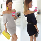 Women Batwing Sleeve Bodycon Dress Ladies Evening Party Off Shoulder Midi Dress