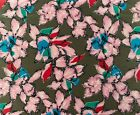 Polyester Satin Kimono Fabric Pink Red Blue Green Floral Sewing Craft Dress