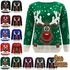 New Ladies Girls Rudolph Reindeer Christmas Knitted Unisex Novelty Xmas Jumpers