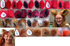 Handmade clip in furry ears in red, ginger and orange. Ideal for cats and foxes!