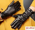 BRAND NEW! Black Long Leather Gloves with woolen lining! BRAND NEW!
