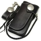 New Black Leather Handmade Mens Biker Rocker Redmoon Goro Style Wallet w/ Concho