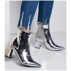 boots mirror - Cape Robbin BETISA-59 Silver Mirror Metallic PointyToe Flare Heel Mod Ankle Boot
