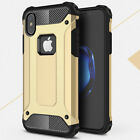 For iPhone X 10 Shock-proof Armor Hybrid Dual Layered Soft Rubber PC Case Cover
