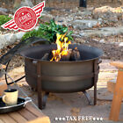 Steel Wood Bowl Fire Pit Outdoor Patio Garden Deck Fireplace + Poker And Cover
