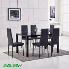 4 or 6 Pcs  Faux Leather Chairs  Glass BlacK Dining Table and Chairs Set  <br/> SAVE 20&pound; Today&radic;As New Year Gift&radic;1 Year Warranty