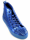Fiesso Mens Blue PU Leather Studded Lace Up High Top Sneaker Shoe