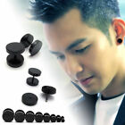 2pc Cool Punk Black Stainless Steel Ear Stud Men/womens Piercing Earrings