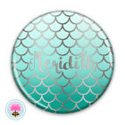 Personalised MERMAID SCALES Silver Foil POCKET MIRROR 58mm Wedding Favour