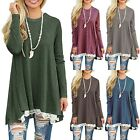 Womens Sweater Stretch Blouse Long Sleeve Jumper Pullover Ladies Tops Lace Dress