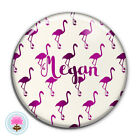 Personalised FLAMINGO Pocket Mirror (58mm) Hen/Wedding/Birthday/Xmas Favour/Gift