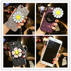 For iPhone X 8 7 Plus Cute Bling Sparkle Glitter Flower Mirror Strap Case Cover