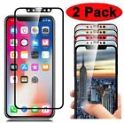 2-Pack Full Coverage 3D Tempered Glass Screen Protector for iPhone X XR Xs Max