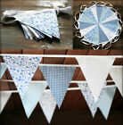3M -12M JILPI HEAVENLY BABY BLUE FLORAL FABRIC BUNTING / BANNER, WHITE GINGHAM!
