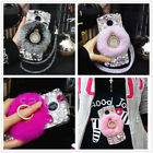 Luxury hairy Rabbit fur hair Bling Crystal Ring Stand + Rope Phone Case Cover