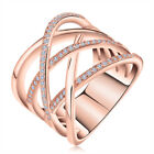 Double Cross CZ Paved Silver Ring Rose Gold Plated Trendy Cocktail Rings Jewelry