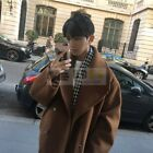 Mens Korean Loose Fir Lapel Double Breasted Outdoor Trench Coat Parkas Oversize
