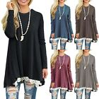 Womens Winter Stretch Lace Blouse Jumper Pullover Round Neck Tops Dress UK Stock