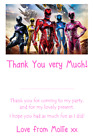 personalised photo paper card party birthday thank you notes POWER RANGERS #2